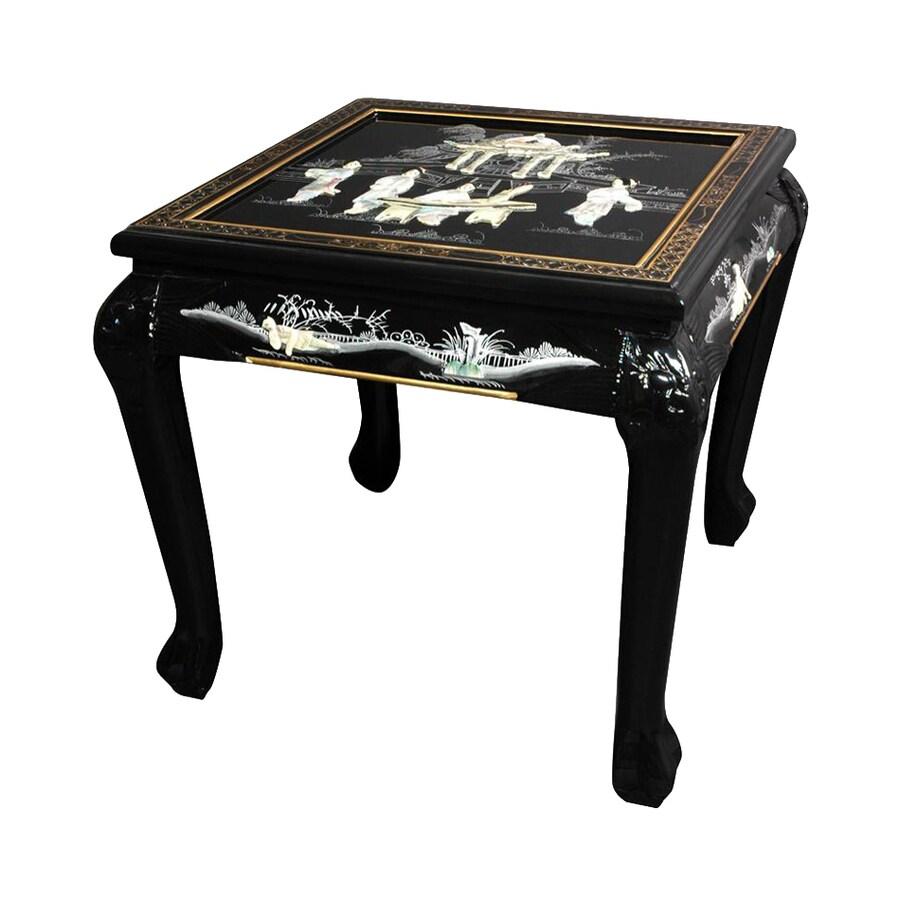 Oriental Furniture Black Elm Square End Table