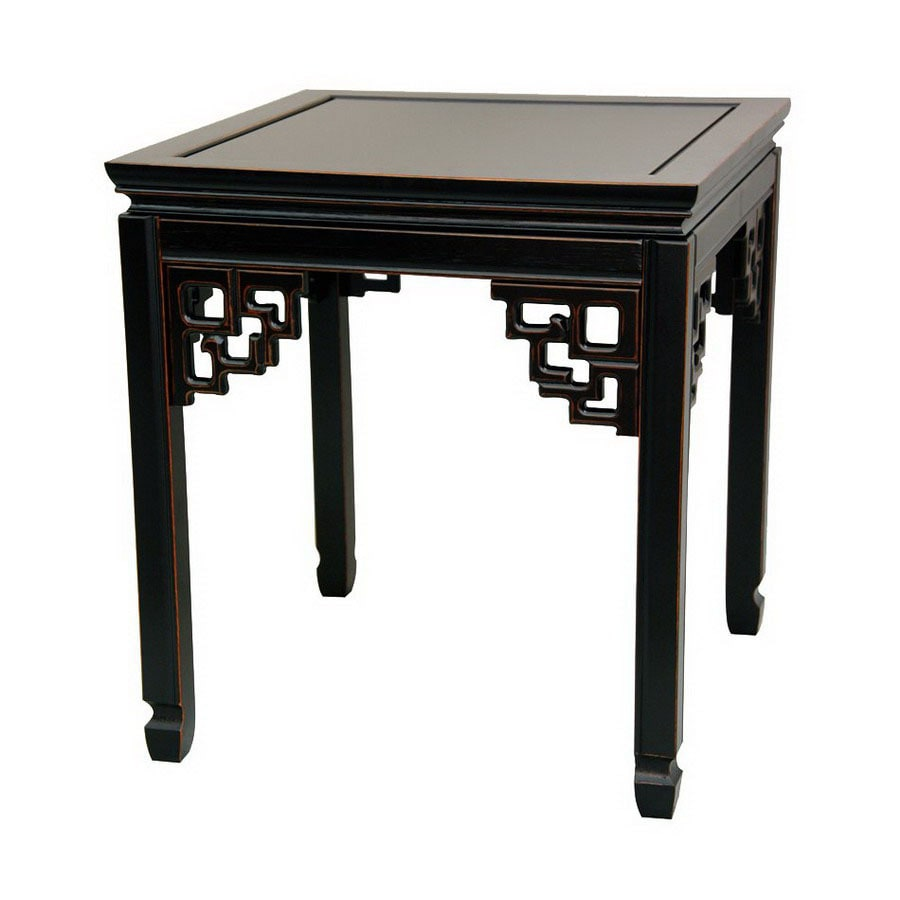 Shop Oriental Furniture Rosewood Furniture Antique Black Square End Table At
