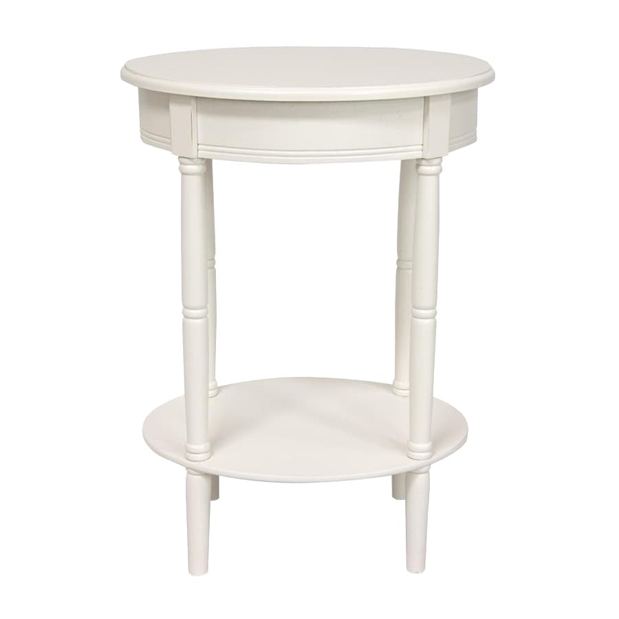 Oriental Furniture Classic Design White Oval End Table