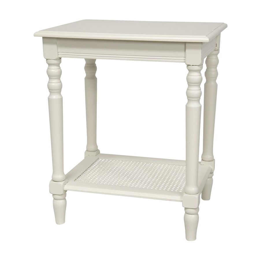 Oriental Furniture Classic Design White Rectangular End Table