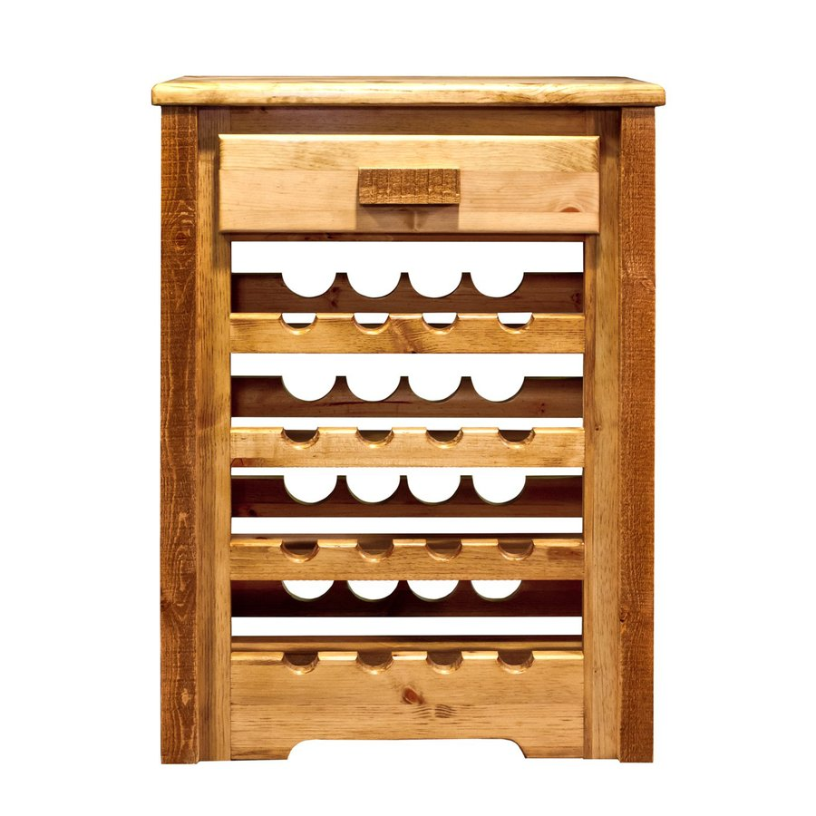 Montana Woodworks Homestead 16-Bottle Stained and Lacquered Freestanding Floor Wine Rack