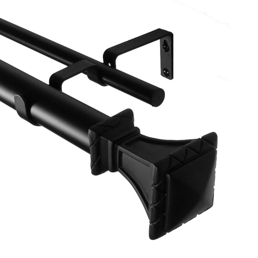 BCL Drapery Classic Trumpeted Square 28-in to 48-in Black Steel Curtain Rod Set
