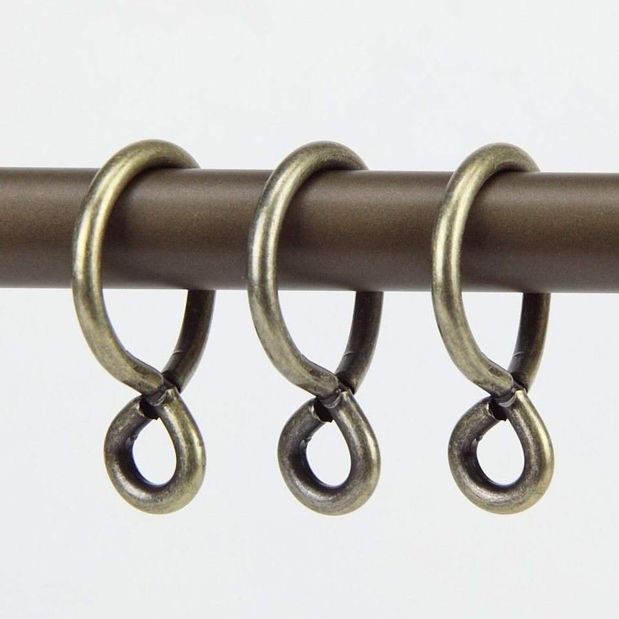 Rod Desyne 10-Pack 1-in Antique Brass Steel Curtain Rings