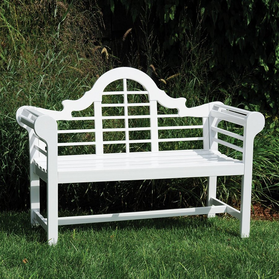 ACHLA Designs Lutyen 23-in W x 54-in L White Eucalyptus Patio Bench