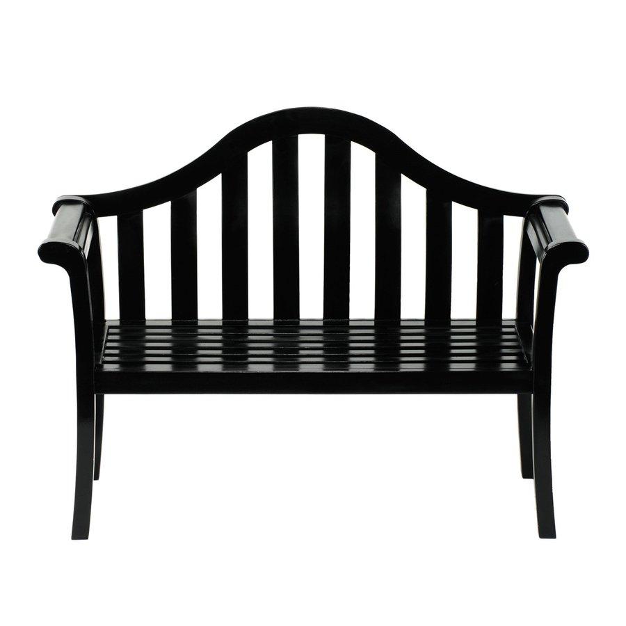 ACHLA Designs Camelback 22-in W x 53-in L Black Lacquer Eucalyptus Patio Bench