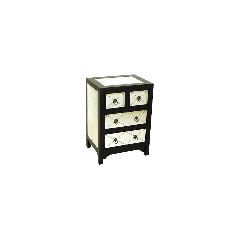 Wayborn Furniture Tanner Black Laquer with Mirror Pine Nightstand