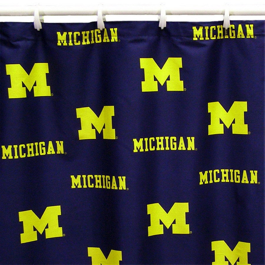 College Covers Michigan Cotton Michigan Wolverines Patterned Shower Curtain