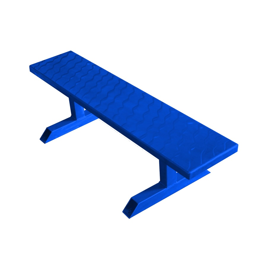 Ofab 14-in W x 66-in L Blue Translucent Aluminum Patio Bench