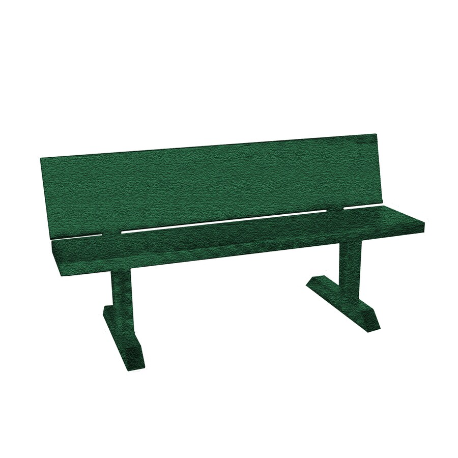 Ofab 14.38-in W x 66-in L Green Tatter Aluminum Patio Bench