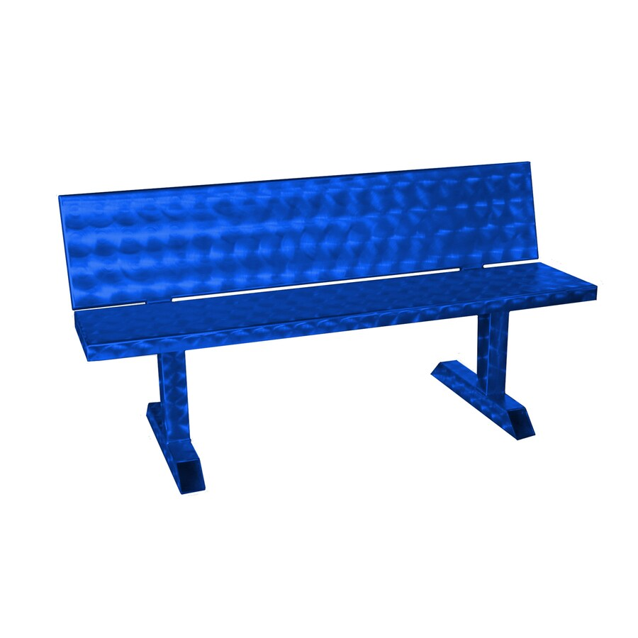 Ofab 14.38-in W x 66-in L Blue Translucent Aluminum Patio Bench