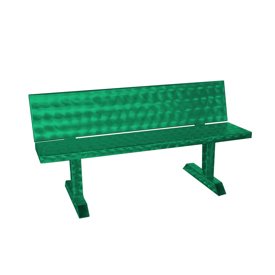 Ofab 14.38-in W x 66-in L Green Translucent Aluminum Patio Bench