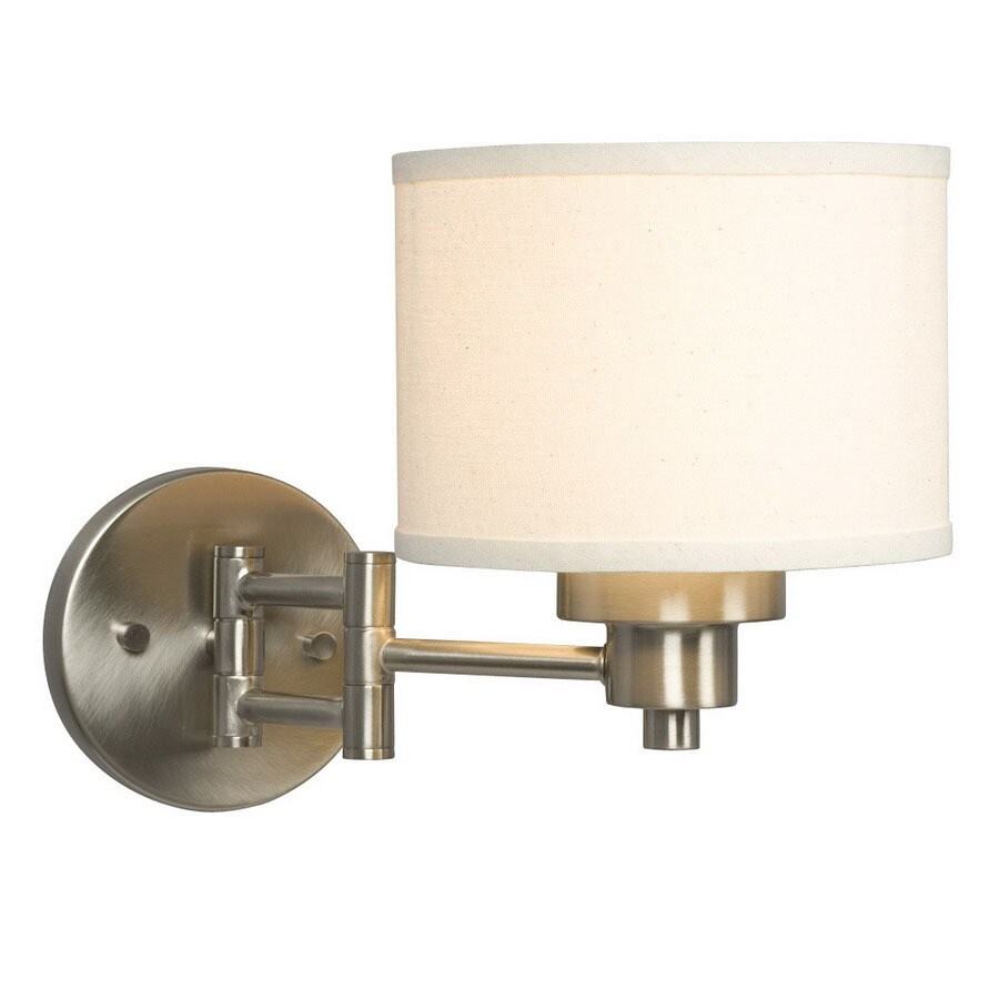 Shop Galaxy Landis 7.25-in W 1-Light Brushed Nickel Arm Hardwired Wall Sconce at Lowes.com