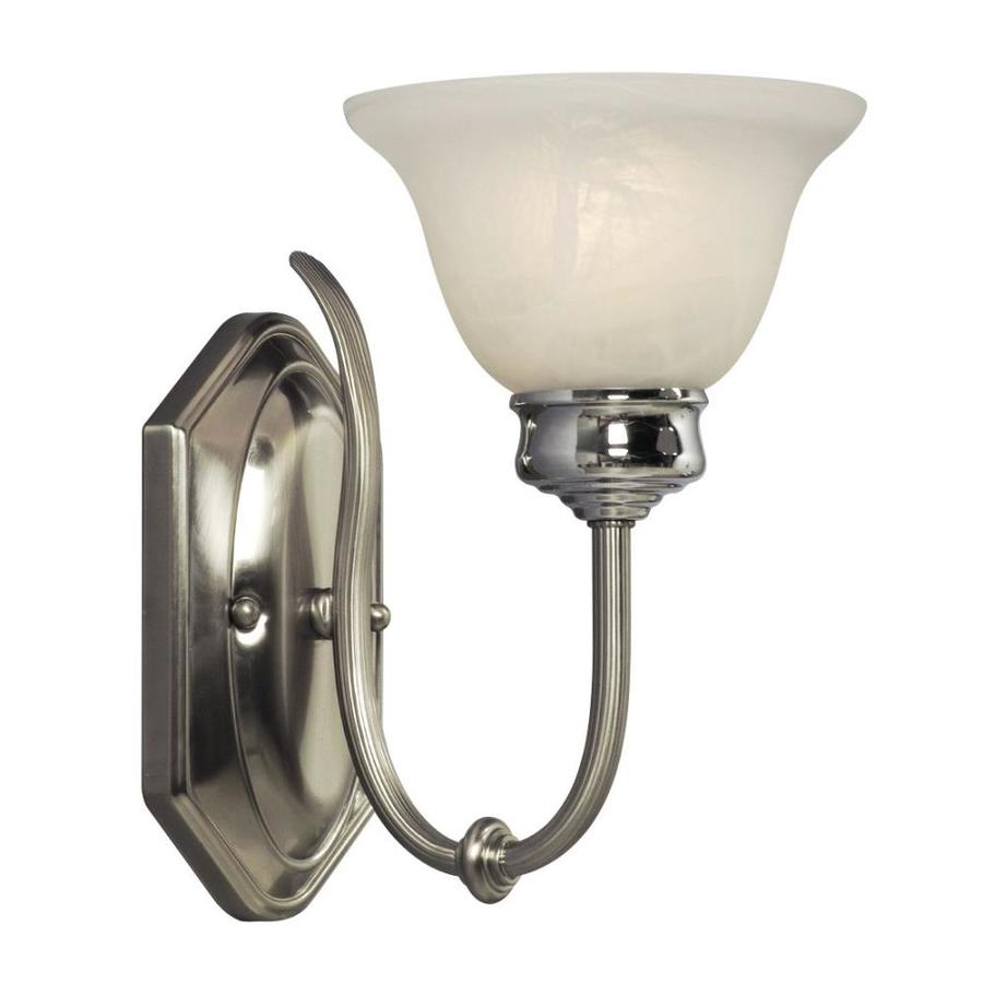 Galaxy Promenade 6.75-in W 1-Light Brushed Nickel/Polished Chrome Arm Hardwired Wall Sconce