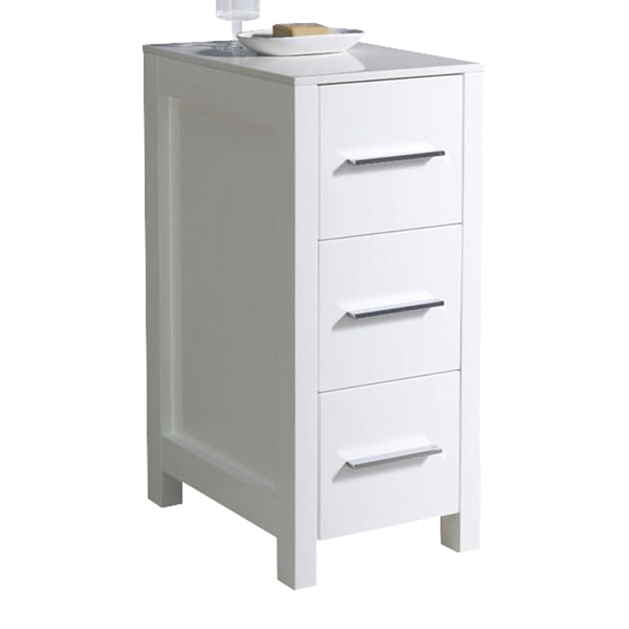 Fresca Torino 12-in W x 28.13-in H x 17.75-in D White Plywood Freestanding Linen Cabinet