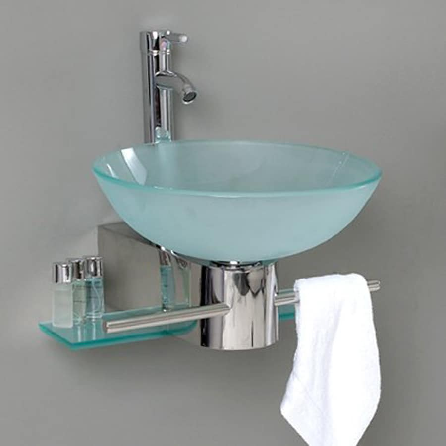Fresca Vetro Stainless Steel Vessel Single Sink Bathroom Vanity with Tempered Glass and Glass Top (Faucet Included) (Common: 18-in x 20-in; Actual: 17.63-in x 20.25-in)