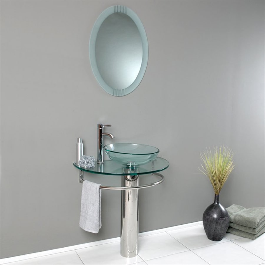 Fresca Vetro Stainless Steel Vessel Single Sink Bathroom Vanity with Tempered Glass and Glass Top (Faucet and Mirror Included) (Common: 30-in x 18-in; Actual: 29.75-in x 18.25-in)