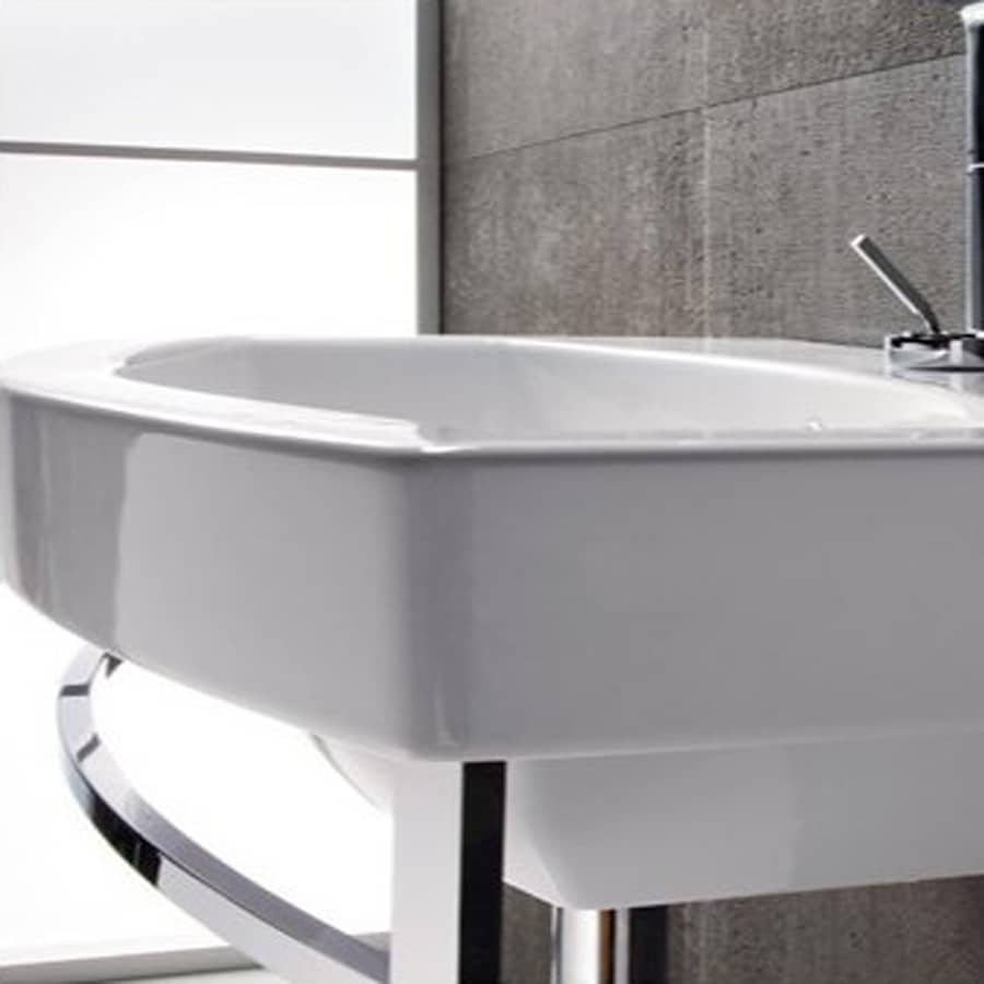 ... White Ceramic Wall-Mount Rectangular Bathroom Sink with Overflow