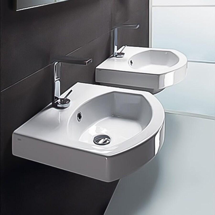 Nameeks Losagna White Ceramic Wall-Mount Rectangular Bathroom Sink ...