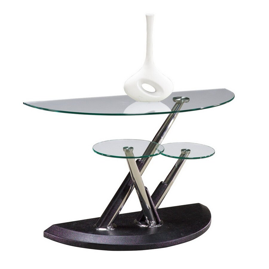 Magnussen Home Modesto Synthetic Black Half-Round Console and Sofa Table