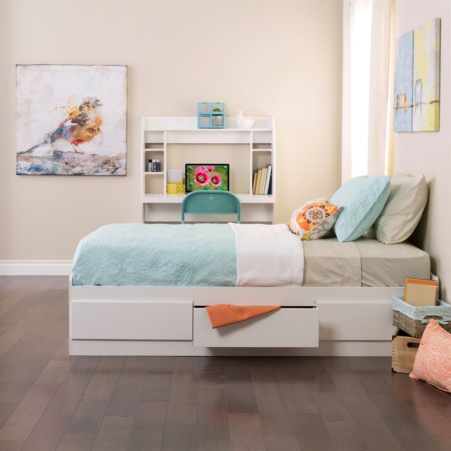 ... Prepac Furniture White Twin Platform Bed with Storage at Lowes.com