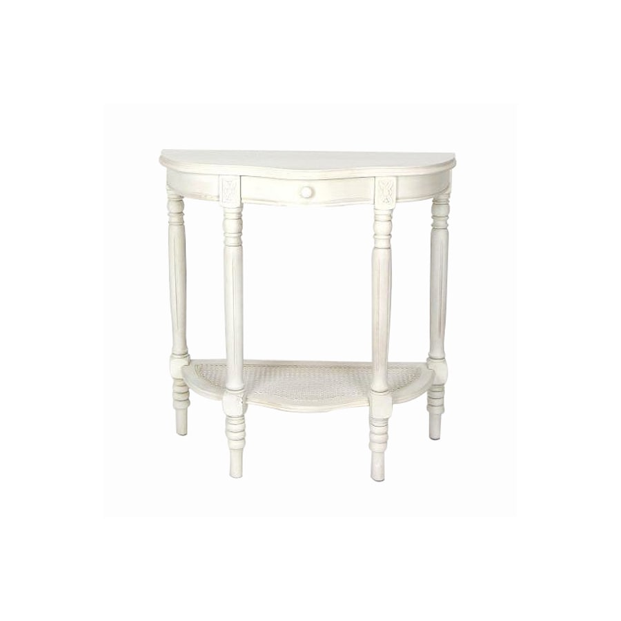 Wayborn Furniture Caned Demi Whitewash Basswood Half-Round Console and Sofa Table