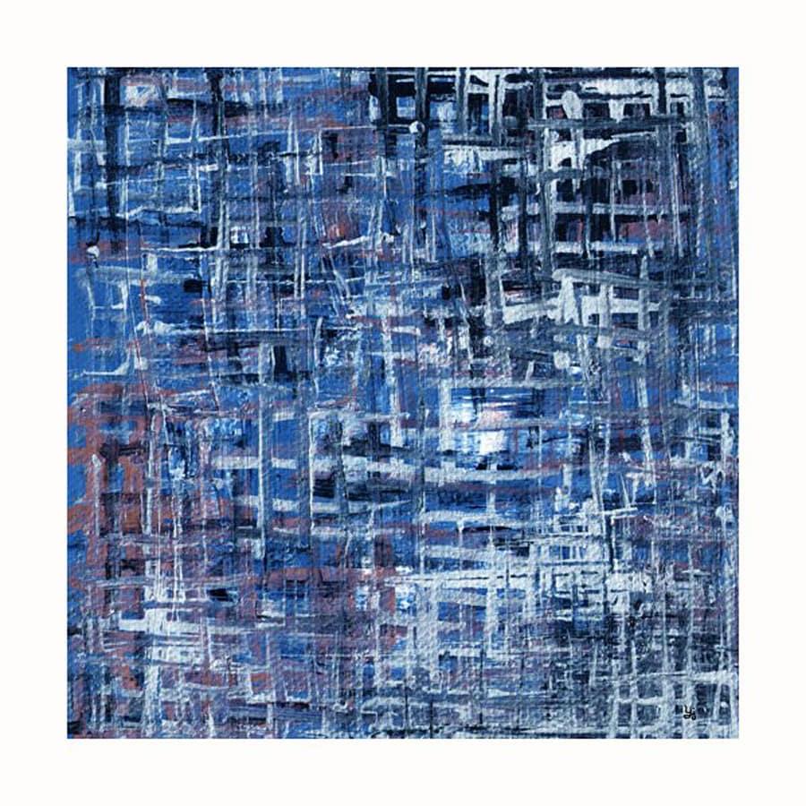Cascadia 36-in W x 36-in H Frameless Canvas Blue Grid Print Wall Art