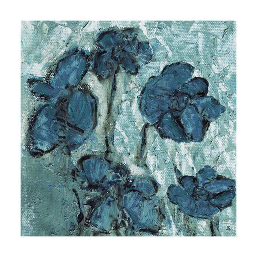 Cascadia 16-in W x 16-in H Frameless Canvas Blue Tone Flowers Print Wall Art