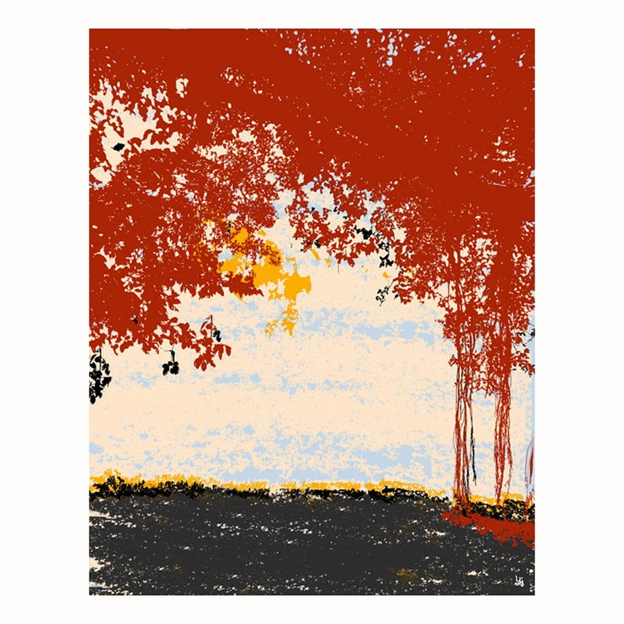 Cascadia 11-in W x 14-in H Frameless Canvas Red Bushes 2 Print Wall Art