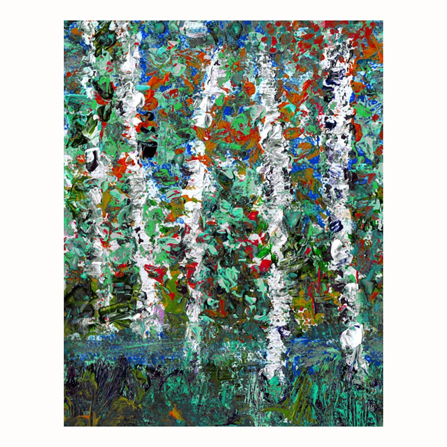 Cascadia 11-in W x 14-in H Frameless Canvas Trees On Lake 2 Print Wall Art