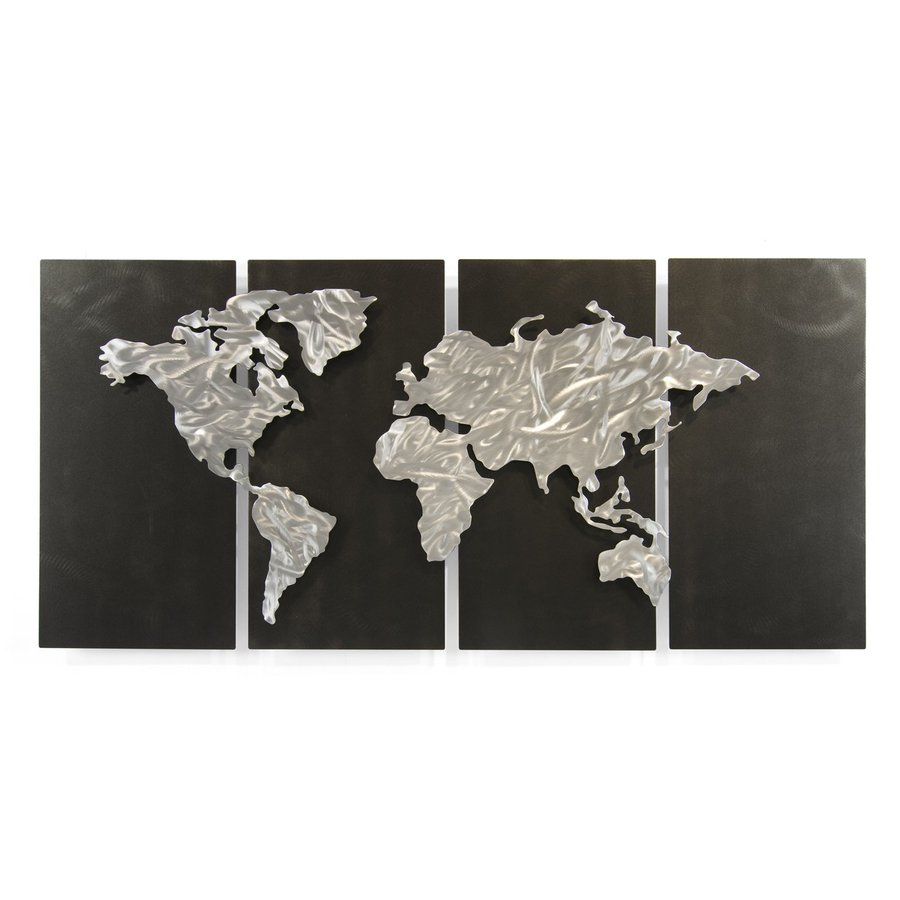 All My Walls 48-in W x 23.5-in H Frameless Metal Maps Sculpture Wall Art