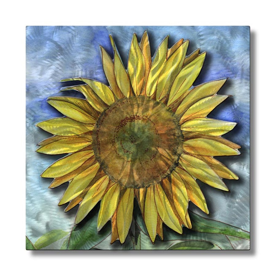All My Walls 23-in W x 23-in H Frameless Metal Floral Sculpture Wall Art
