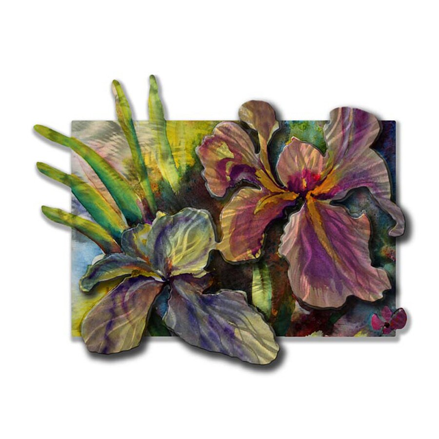 All My Walls 29-in W x 20.5-in H Frameless Metal Floral Sculpture Wall Art