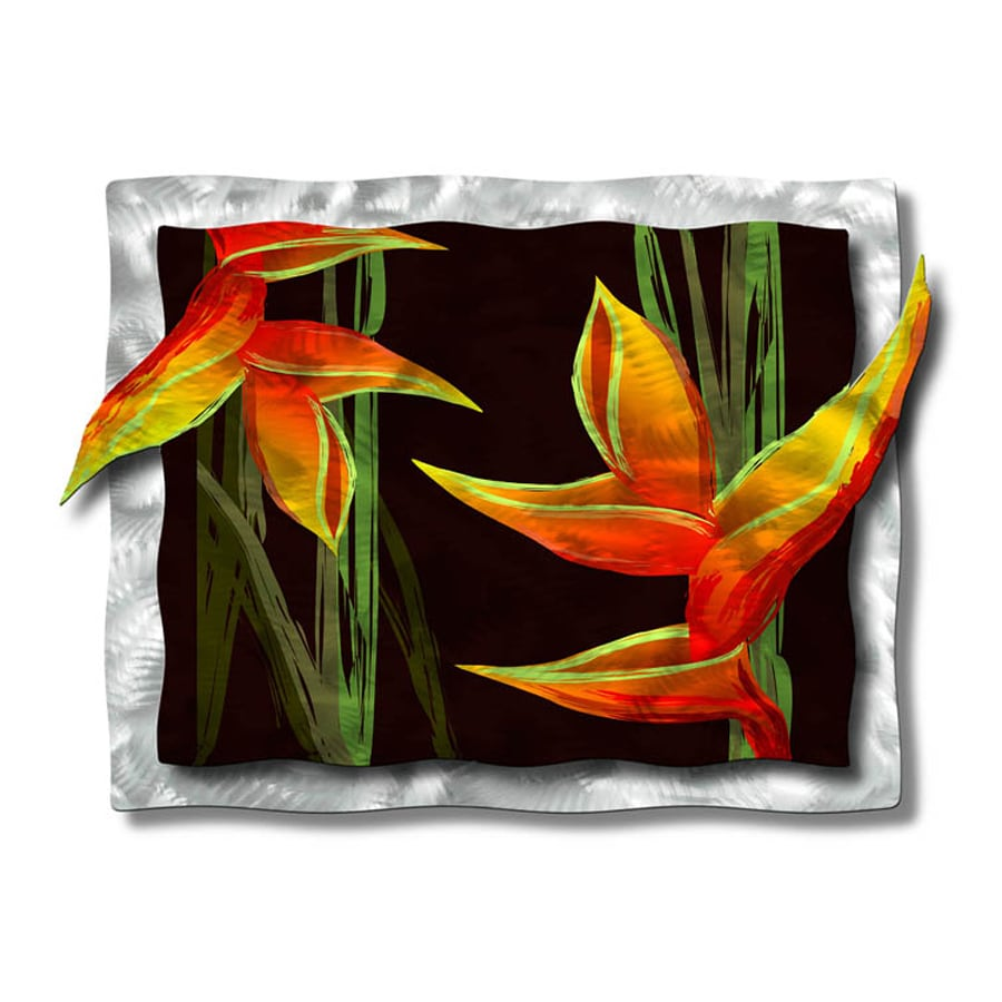All My Walls 34.5-in W x 27.5-in H Frameless Metal Floral Sculpture Wall Art