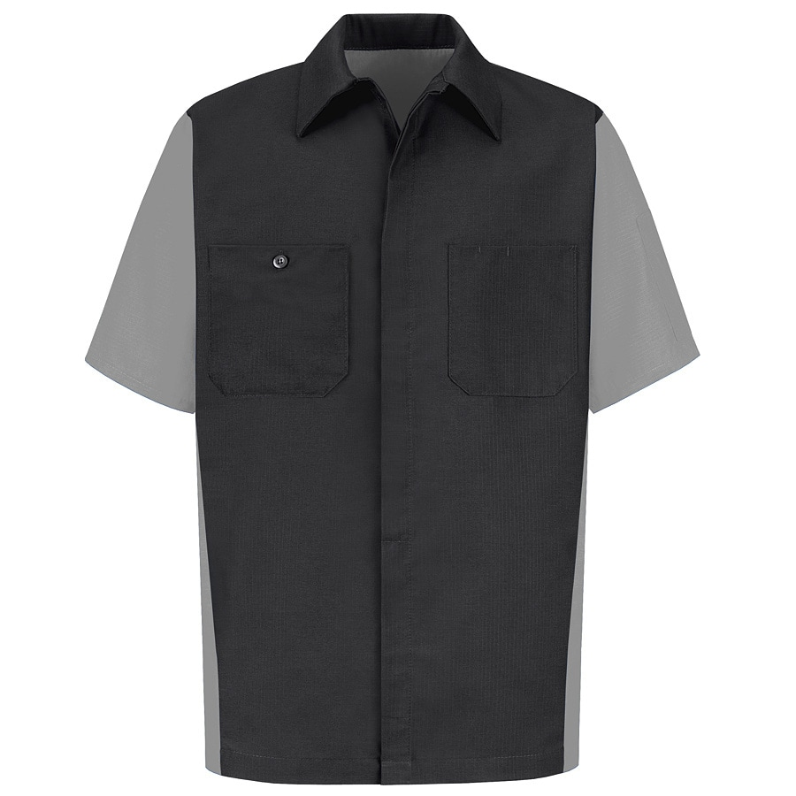 Red Kap Men's Large-Long Light Grey Poplin Polyester Blend Short Sleeve Uniform Work Shirt