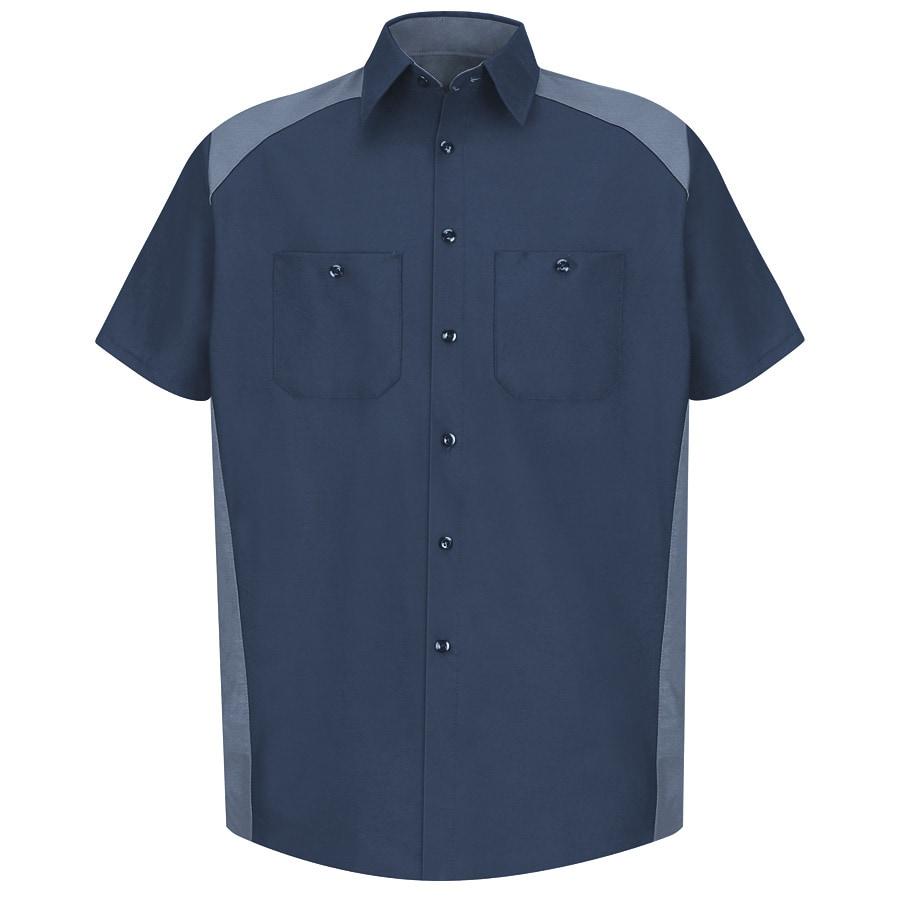 Red Kap Men's 4XL Navy Poplin Polyester Blend Short Sleeve Uniform Work Shirt