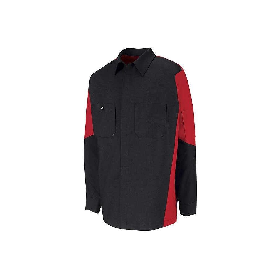 Red Kap Men's Large Black Poplin Polyester Blend Long Sleeve Uniform Work Shirt