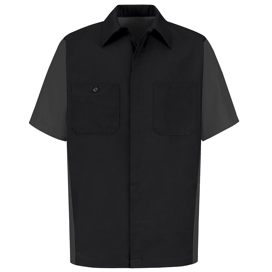 Red Kap Men's Large-Long Black Poplin Polyester Blend Short Sleeve Uniform Work Shirt