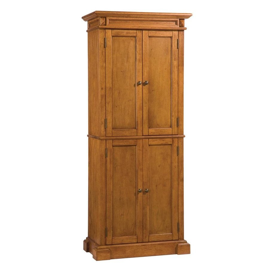 Shop home styles 30 in w x 72 in h x 16 in d distressed oak pantry cabinet at - Kitchen pantry cabinets freestanding ...