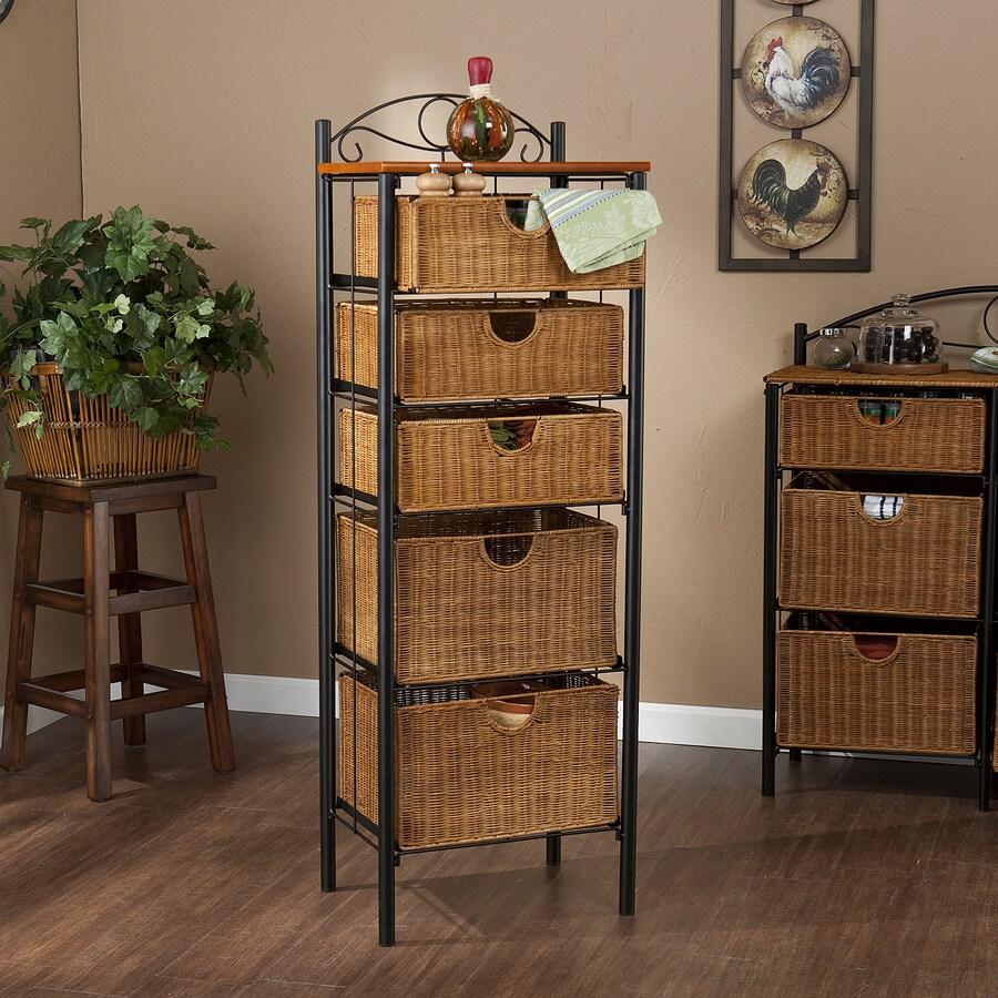 Boston Loft Furnishings Chisago Black Rectangular Bakers Rack
