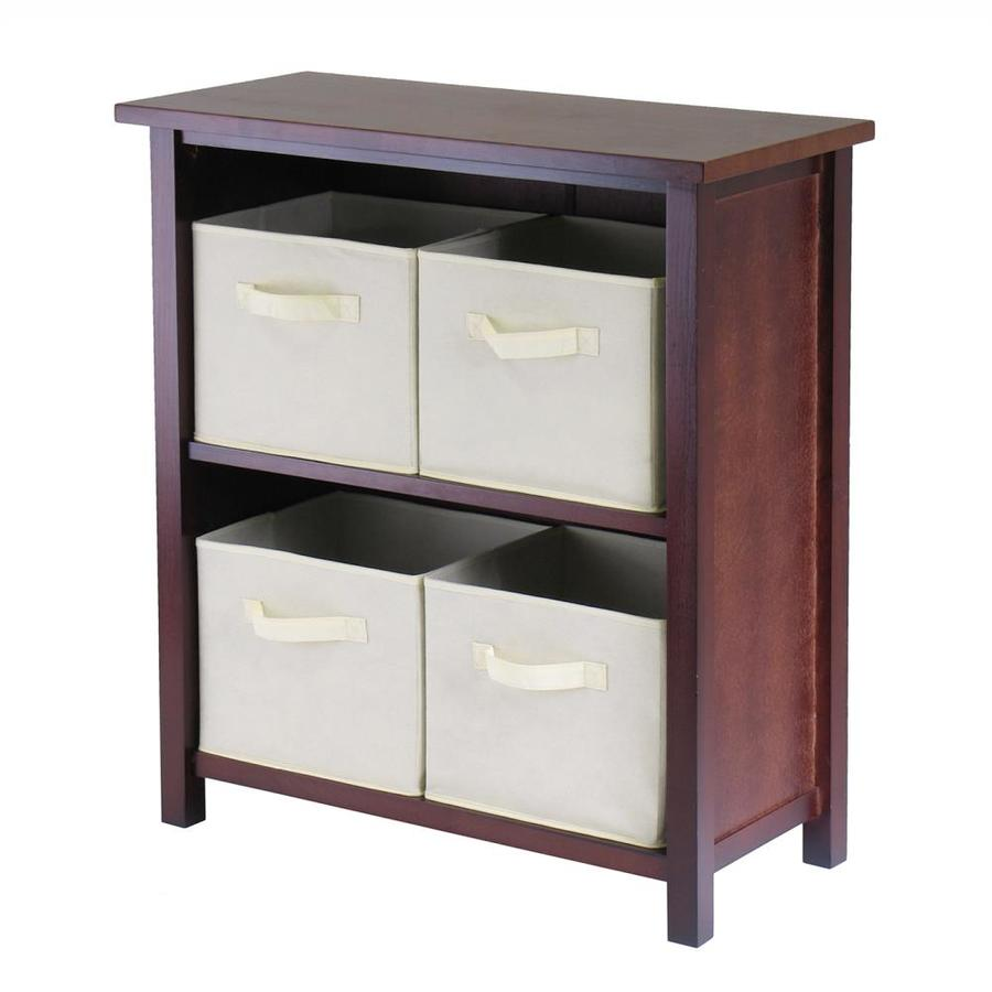 Winsome Wood Verona Antique Walnut 2-Shelf Office Cabinet