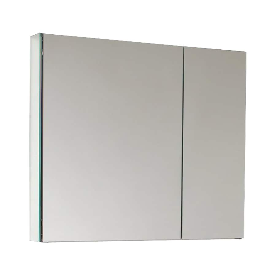 Fresca 29.5-in x 26-in Rectangle Surface/Recessed Mirrored Aluminum Medicine Cabinet
