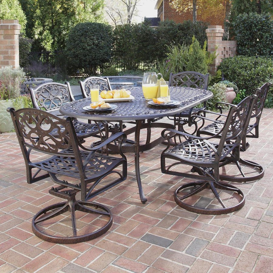 Shop home styles biscayne 7 piece rust bronze aluminum for Patio furniture table set