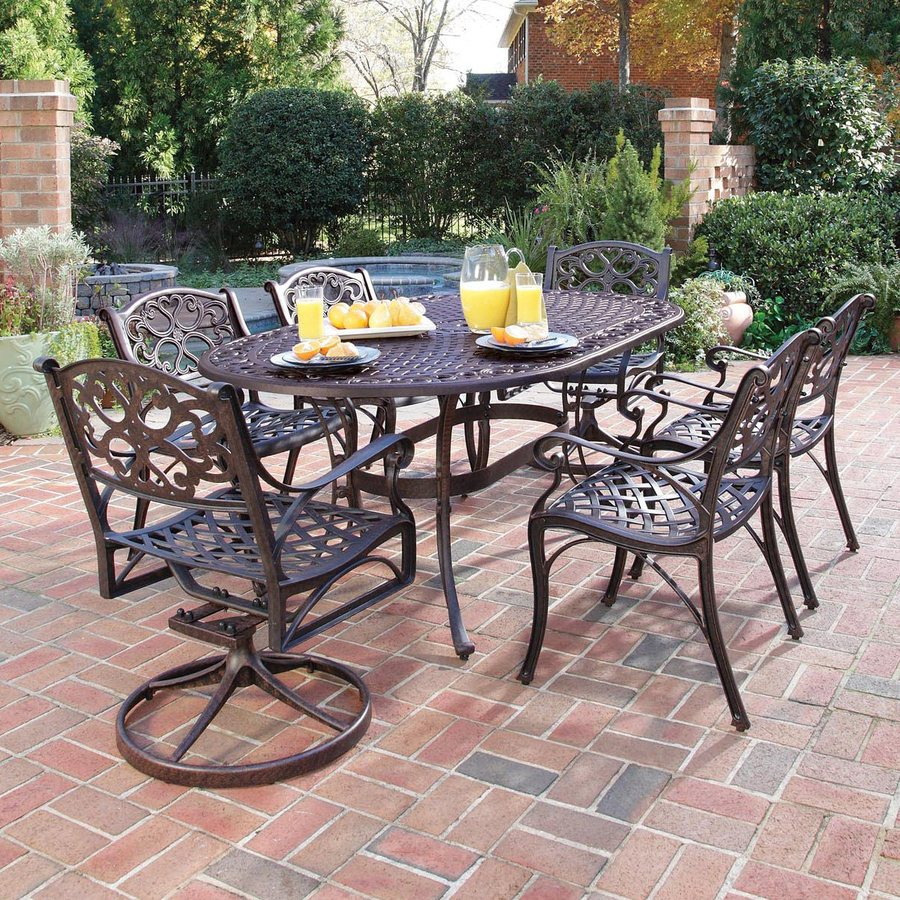 Home Styles Biscayne 7-Piece Rust Bronze Aluminum Patio Dining Set