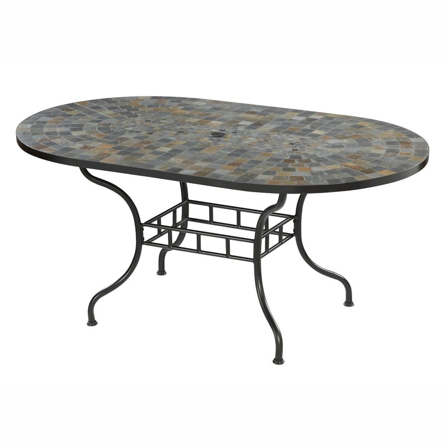 Home Styles Stone Harbor 39.5-in W x 65-in L Oval Steel Dining Table