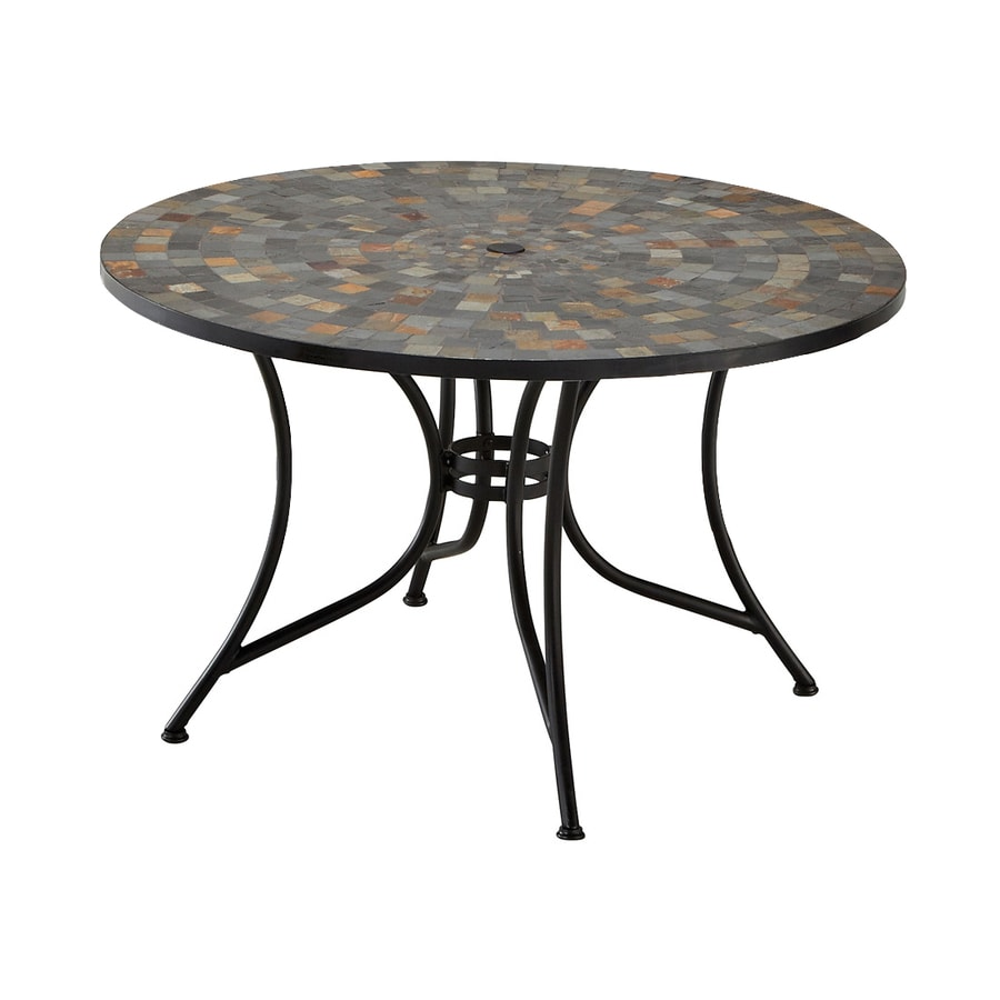 Home Styles Stone Harbor 51.25-in W x 51.25-in L Round Steel Dining Table