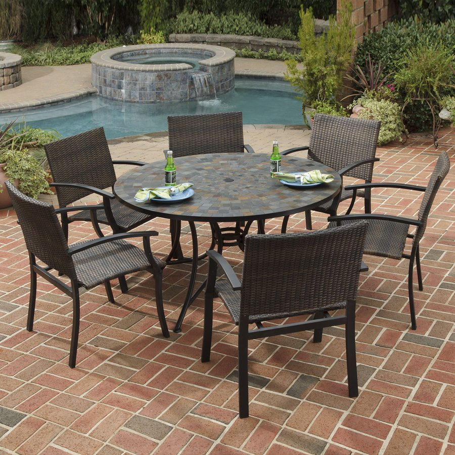 Shop home styles stone harbor 7 piece slate stone patio for Patio furniture table set