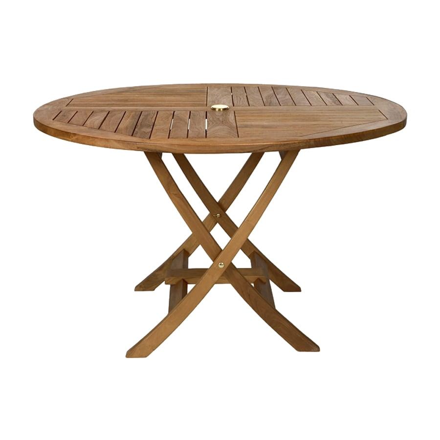 Shop all things cedar 48 in w x 48 in l round teak folding dining table at lowes com