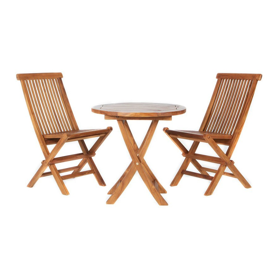 All Things Cedar 3-Piece Natural Teak Bistro Patio Dining Set