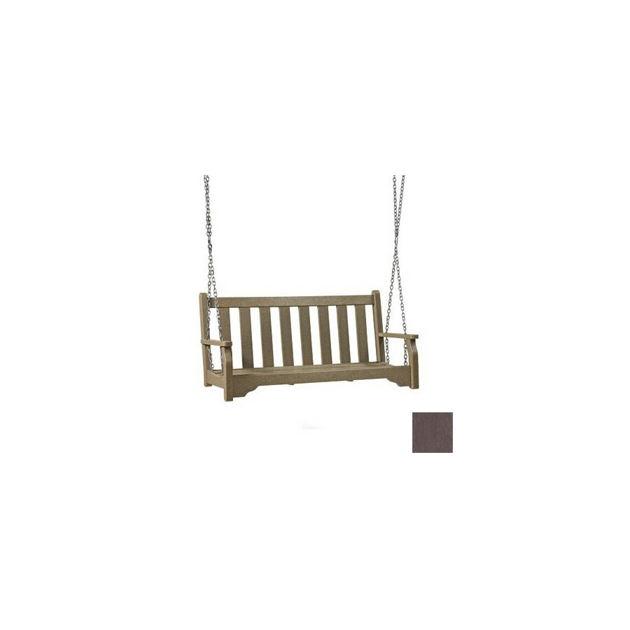 Siesta Furniture 3-Seat Plastic Brown Classic Style Swinging Porch Bench