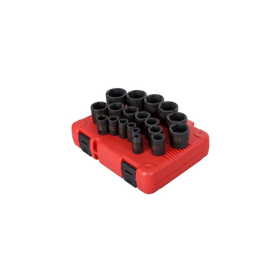 Sunex Tools 19-Piece 1/2-in Standard 6-Point Impact Socket Set
